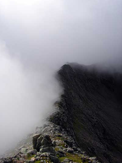 Carn Mor Dearg Arete in cloud